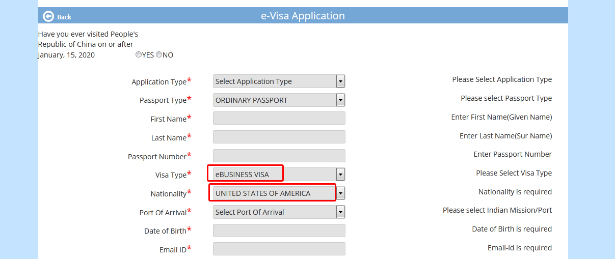 apply for Indian business visa